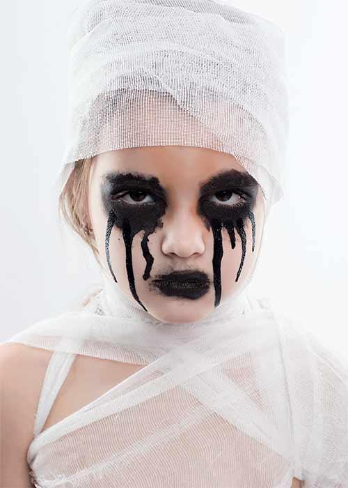mumiedräkt makeup halloween